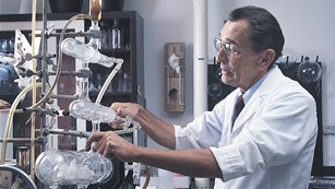 Scientist in a 1970s Beecham Research Laboratory producing antibiotics